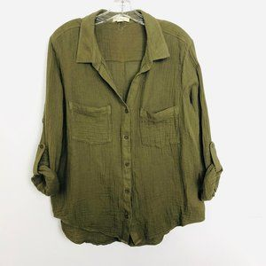 Cloth & Stone Green Cotton Roll Sleeve Blouse